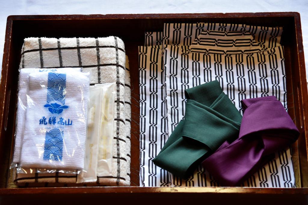 飛騨高山 旅館 アメニティグッズ 浴衣 フェイスタオル バスタオル 歯ブラシ・歯磨き粉