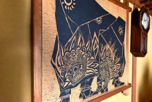 飛騨高山 旅館 獅子舞 版画