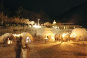 新穂高温泉中尾かまくらまつり ライトアップ 冬景色